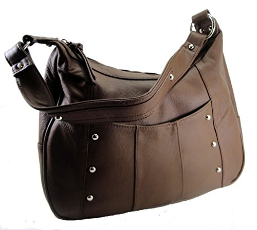 Leather Concealed Carry Gun Purse Left/Right Hand W/ Locking Zipper Brown