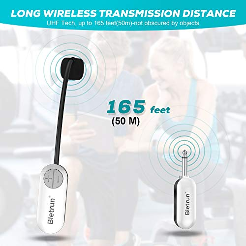 Wireless Microphone Headset, New Upgrade UHF Wireless Mic System, 165ft Range, 1/4''&1/8'' Plug, Head Mounted Handheld 2 in 1, for iPhone, iPad, Android, Desktop, Camera, Speaker, Recording, Amplifier