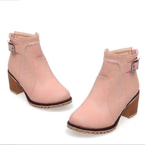 Ei&iLI Bottes printemps femmes / automne / hiver Martin bottes simili cuir Outdoor / Casual Chunky talon Buckle bottes / autres , pink , 42