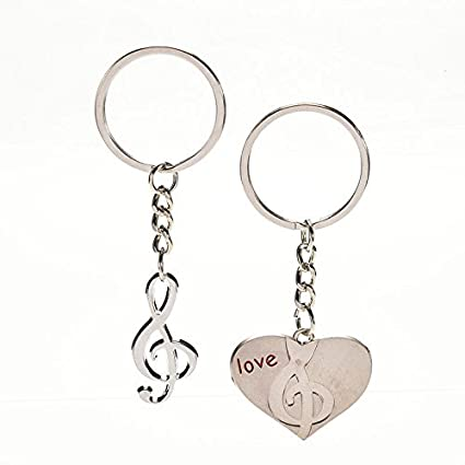 foopp romántico par de Nota Musical con forma de corazón llavero para el día de San Valentín regalos