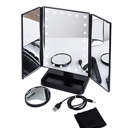 Big Trifold Makeup Mirror With 24 LED Lights, Touch Screen Dimming, 10x Magnification Spot Mirror, 2 Power Mode Tabletop LED Vanity Makeup Mirror Lighted, With 180 Rotation Black
