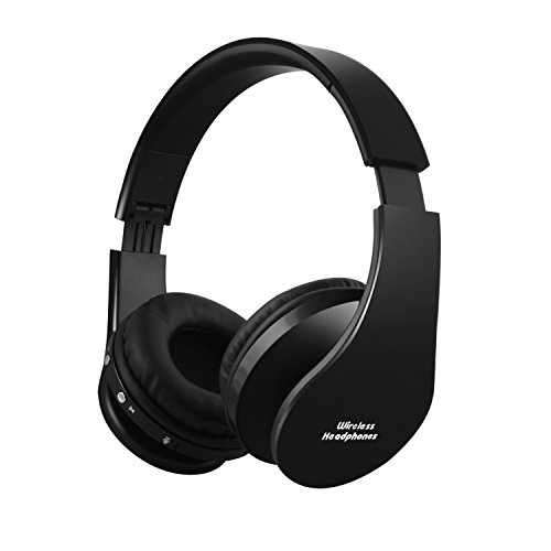 e Wireless Over-Ear Headphone On Ear Headphone Stereo Headset Lightweight Design, Compatible with iPhones, iPads, Smartphones, Tablets, PC and Laptops (Black-X) ()