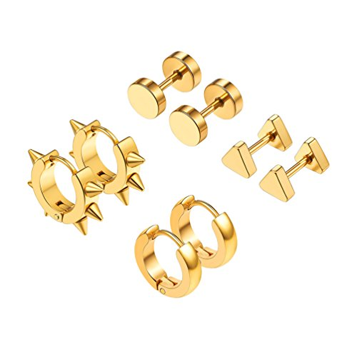 18K Gold Plated Spike Triangle Round Hoop Earrings Stud Earrings Jewelry Rock Punk Women Men Earrings -