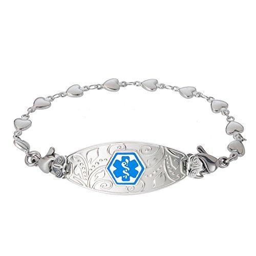 Divoti Custom Engraved Medical Alert Bracelets for Women, Stainless Steel Medical Bracelet, Medical ID Bracelet w/Free Engraving - Lovely Filigree Tag w/Heart Link-Light Blue-6.5