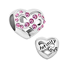 Charmed Craft Infinity Love Heart Charms Jan-Dec Birthstone Crystal Beads Sale Cheap For Bracelets Jewelry