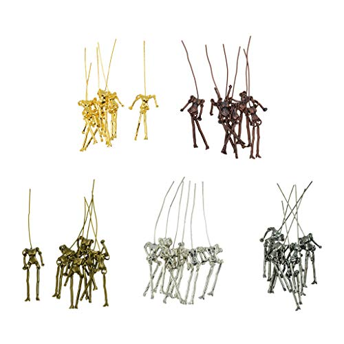 Prettyia 30 Pieces Fashion Human Skeleton Body Dolls Pendants for DIY Jewelry Making Necklace Doll Crafts -Gold, Retro Copper, Black, Tibetan Silver, Bronze