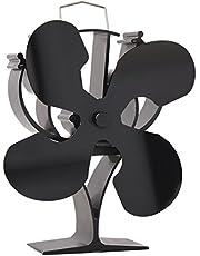 New Designed 4 Blades Heat Powered Stove Fan for Wood/Log Burner/Fireplace - Eco Friendly(Black)