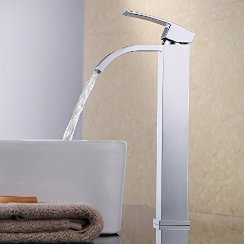 KES Bathroom Sink Faucet Waterfall Vessel Sink Faucet Single Handle One Hole for Lavatory Brass Contemporary Hotel Square Style Polished Chrome, L3109B (Single Hole Lavatory Faucet compare prices)
