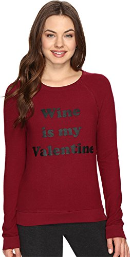P.J. Salvage Women's Wine Is My Valentine Sweatshirt Merlot Pajama Top