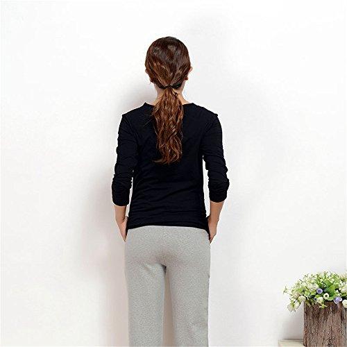 Premaman Maglietta Donna T Semplice Popolare Shirt Allentato Cotone ZONVENL Girocollo Black Gravidanza Camicie Lunga Taglie Manica Colore Puro Top Incinta Forti 0wqAz