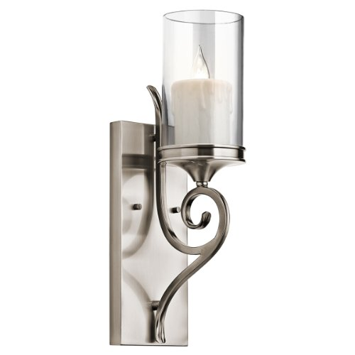 1 Light Candle Wall Sconce - Kichler 45362CLP Lara Wall Sconce 1-Light, Classic Pewter
