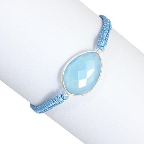 Woven Polyester Blue Cord Single Strand Blue Chalcedony Gemstone Wrap Bracelet or Anklet