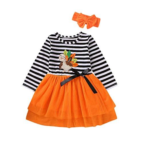 2Pcs Baby Girls Clothes Long Sleeve Thanksgiving Cartoon Turkey Striped Print Tutu Skirt Dress + Headband Outfits Set Orange