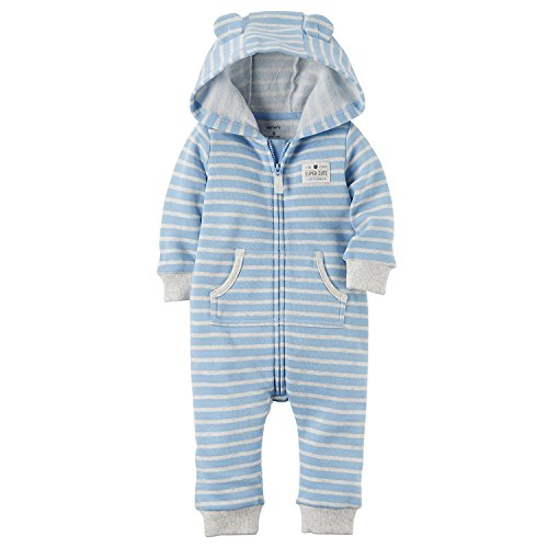 Blue Fleece Carters (Carter's Baby Boys Brushed Fleece Hooded Romper Jumpsuit, Super Cute Blue, 18 Months)