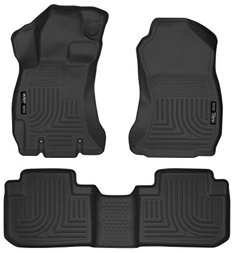 Husky Liners 99881 Black Weatherbeater Front & 2nd Seat Floor Mats Fits 2014-2018 Subaru Forester
