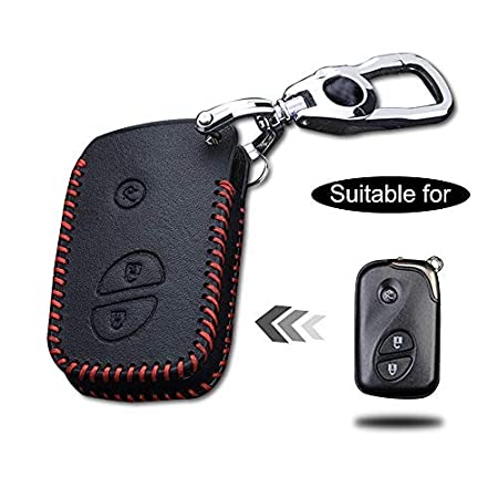 Cobear Custodia con Portachiavi in Pelle per Chiave con Telecomando per 3 Buttons Smart Key Luxury Genuine Hand Sew Red Line 1PC