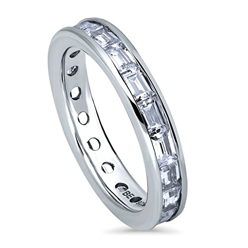 BERRICLE Rhodium Plated Sterling Silver Channel Set Cubic Zirconia CZ Eternity Band Ring Size 4 ()