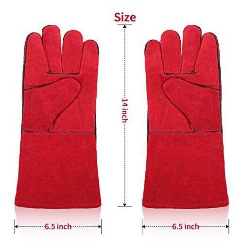 Orange QeeLink Leather Weling Work Gloves Heat Resistant for Tig//Mig Welders//Fireplace//BBQ//Gardening//Grilling//Stove16 inch