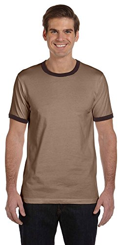 Brown Mens Ringer (Bella + Canvas Men's Jersey Short-Sleeve Ringer T-Shirt (3055C)- HEATHER BROWN/BROWN,L)