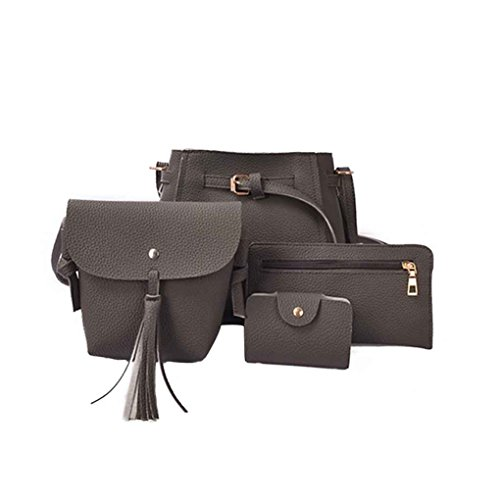 Chilie 4pcs / set Bolsas compuestas de cubo de las mujeres Solid Pu Leather Small Messenger Bags Purse Wallet Set marrón amarillento gris oscuro
