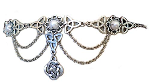 Moon Maiden Jewelry Celtic Triquetra Trinity Knot Draping Chain Headpiece Pearl -