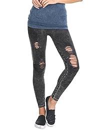 Nikibiki Womens Seamless Vintage Destroyed Leggings