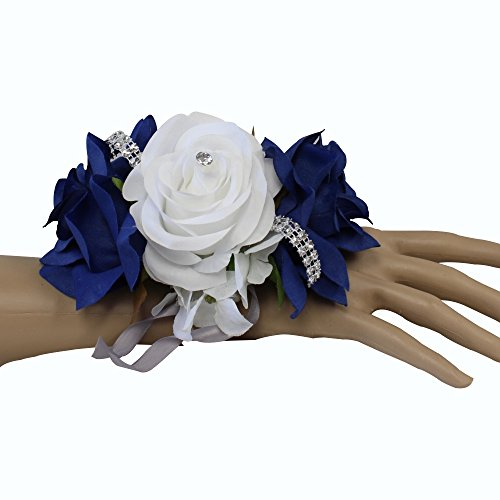 Angel Isabella Wrist Corsage-keepsake artificial roses hydrangea large wrist flower flower prom dance graduation events (Royal Blue White)