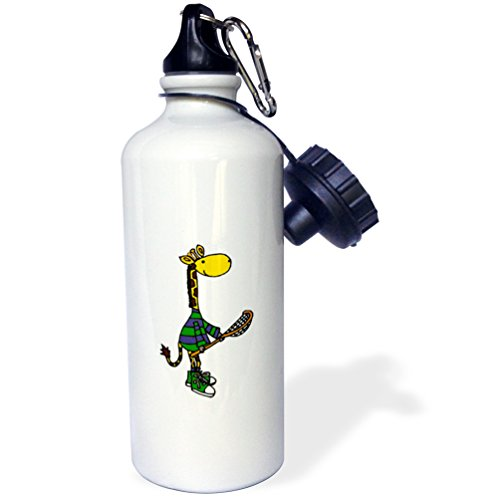 3dRose All Smiles Art Sports and Hobbies - Funny Giraffe Holding Lacrosse Stick - 21 oz Sports Water Bottle (wb_243509_1) by 3dRose