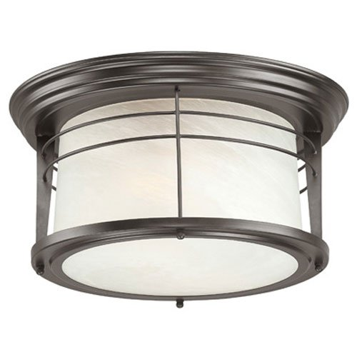 Flush Two Light (Westinghouse 6674600 Senecaville Two-Light Exterior Flush-Mount Fixture, Weathered Bronze Finish on Steel with White Alabaster Glass)