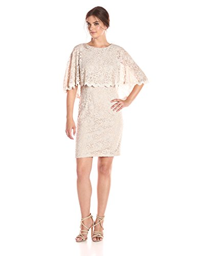 Jessica Howard Women's Scallop Capelet Dress, Champagne, 10