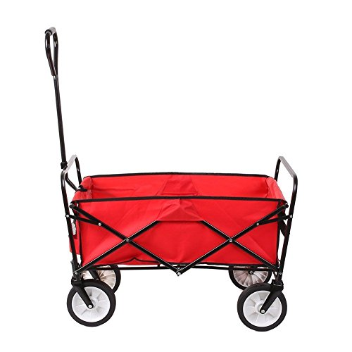 Collapsible Folding Wagon Cart Utility Garden Toy Buggy Camp Beach Sports Chart (Red) (Cubic Foot Wheelbarrow)