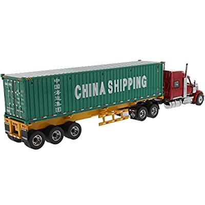 International Lonestar Sleeper Cab Red w/Skeleton Trailer & 40' Dry Goods Sea Container China Shipping Green 1/50 Diecast by Diecast Masters 71045: Toys & Games