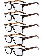Eyekepper 5-Pack Spring Hinges Vintage Reading Glasses Men Readers Black Frame Tortoise Arms +2.0