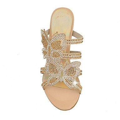 LvYuan Mujer-Tacón Bajo-Otro Zapatos del club Innovador-Sandalias-Informal Vestido-Materiales Personalizados Purpurina-Azul Oro Gold