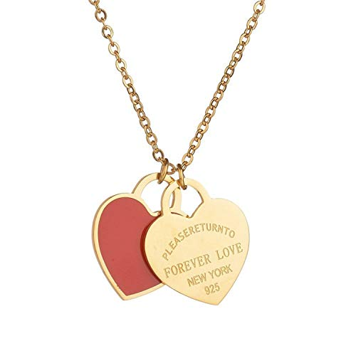Designer Inspired Gold Titanium Steel Forever Love Double Heart Pendant Necklace (Red ()