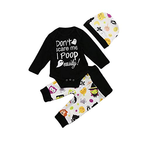 Halloween Infant Baby Girls Boys Clothes Long Sleeve Romper with Hat and Pants Outfits Set 3PCS (Black, 3-6 Months)]()