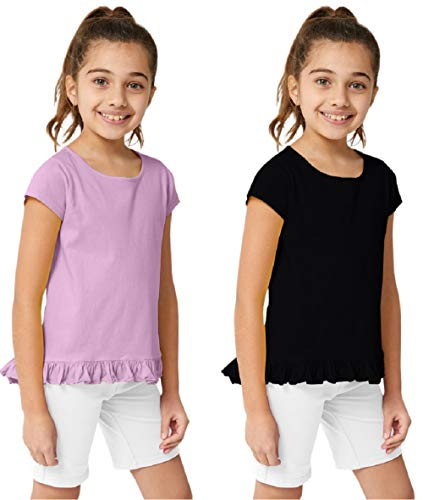 - KIDPIK Girls T Shirts 2Pack Coco Swing Top (Black/Orchid Bouquet)- M