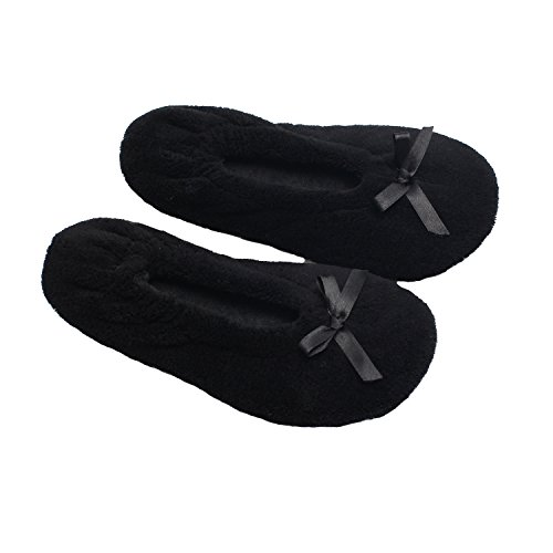 Ofoot Women/Girls Fuzzy Soft Coral Fleece Ballerina Slippers, Indoor Shoes With EpE Insole & Towelling Cloth Lining Black