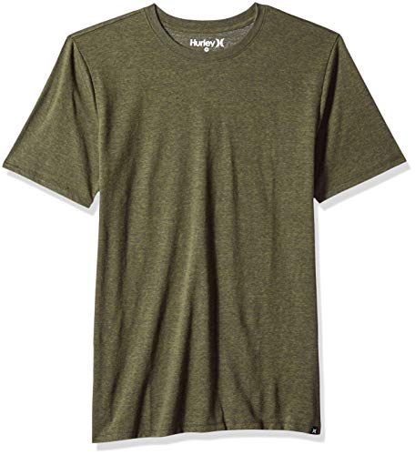 Hurley Men's Short Sleeve Staple Tri-Blend Crew Neck Tee Shirt, Olive Canvas, XXL