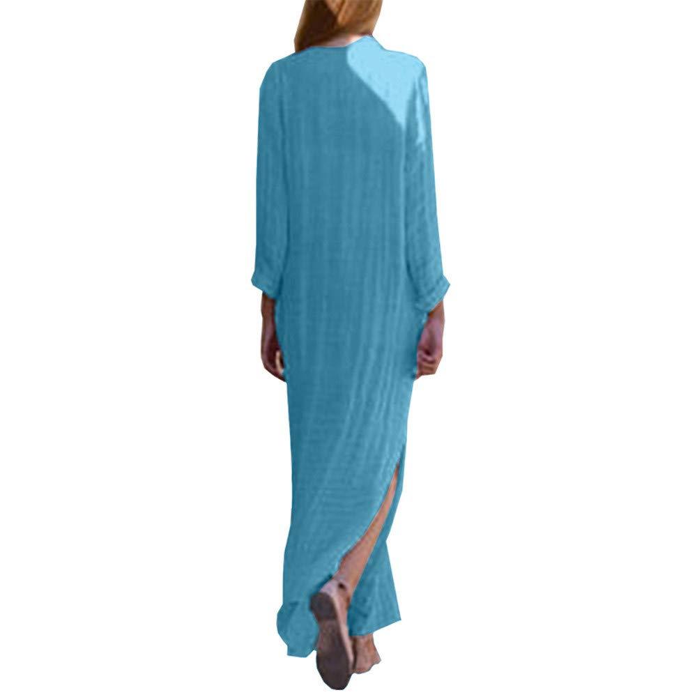 iHPH7 Womens Paisley Long Sleeve Slit Maxi Dress Baggy Cotton Linen Kaftan  Dress at Amazon Women s Clothing store  a895aca25