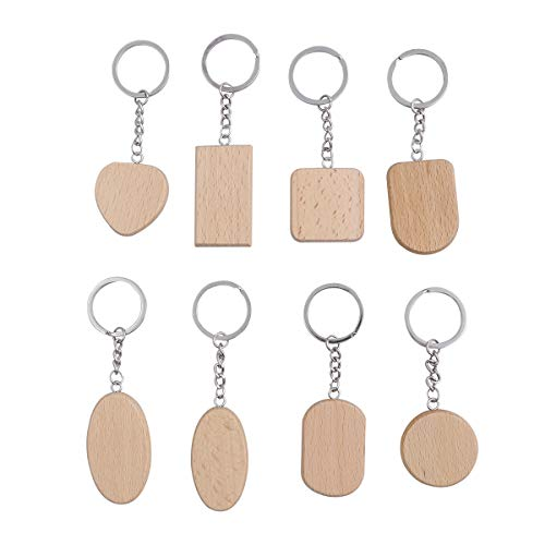(Amosfun 8pcs DIY Blank Wooden Keychain Personalized Assorted Shape Wood Key Rings for Men Women Gift (Circle, Rounded Square, Rectangle, Heart, Square, Oval, Large Oval, Long Semicircle Pattern))