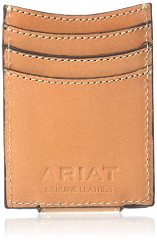 Ariat Unisex-Adult's Floral and Basket Stamp Magnetic Money Clip Wallet, tan