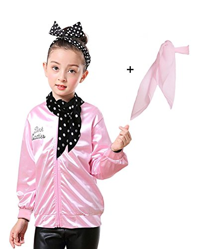 Yan Zhong 1950s Child Pink Ladies Satin Jacket with Neck Scarf T Bird Danny Costume Fancy Dress (Without Rhinestone on The Back, Small) ()