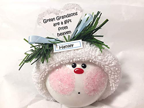 - Great Grandson Christmas Glass Ornaments Heart Verse A Gift From Heaven Hand Painted Handmade Personalized
