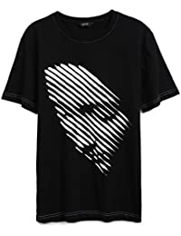 Mens Artistic Face Graphic Short Sleeve T-shirt