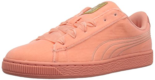 PUMA Girls' Basket Classic Velour Kids, Desert Flower-Metallic Gold 7 M US Big ()