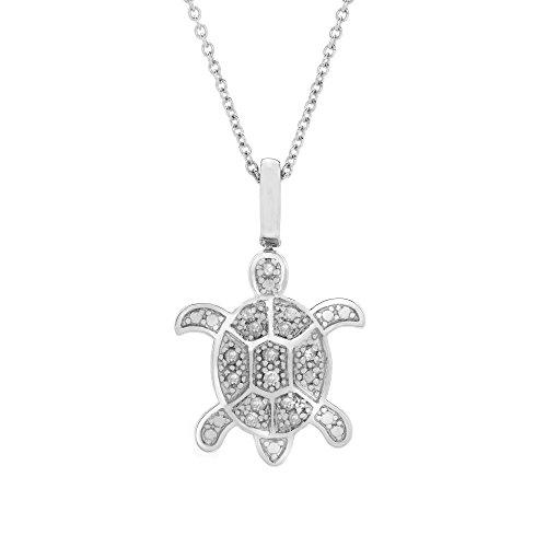 "Brilliant Designers Sterling Silver And 0.15 CTTW Black & White Diamond (IJ/I3) Turtle Pendant With 18"" Silver Chain. (Brilliant Cut Designer Necklace)"