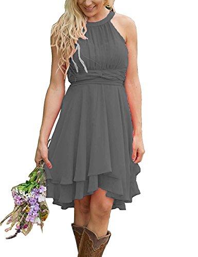 XingMeng Short A Line Halter Chiffon Prom Homecoming Bridesmaid Dresses Gray US 14