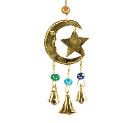 "9"" Three Bell Star and Moon Brass Wind Chime, for Wicca, Pagan, New Age, Goddess, Pentagram, Chakra, Spirituality"