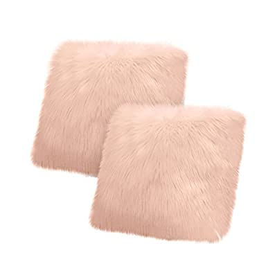"Jean Pierre New York Jean Pierre Faux Fur 2-Piece, Blush Decorative Pillow Set - Set includes (2) plush 18"" x 18"" decorative throw pillows Exceptionally soft and cozy faux fur will effortlessly add style to any bedroom or living room Reverse side features classic faux suede - living-room-soft-furnishings, living-room, decorative-pillows - 41LC3i0y3gL. SS400  -"